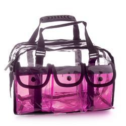 64aeee42f669 MST-250 Makeup Clear Bag Pink. Monda Studio